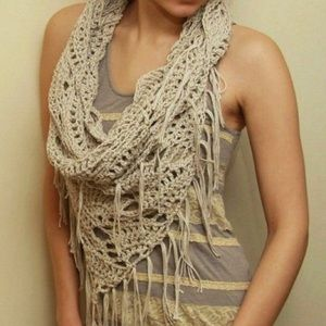 Cream crochet loose knit fringe infinity scarf